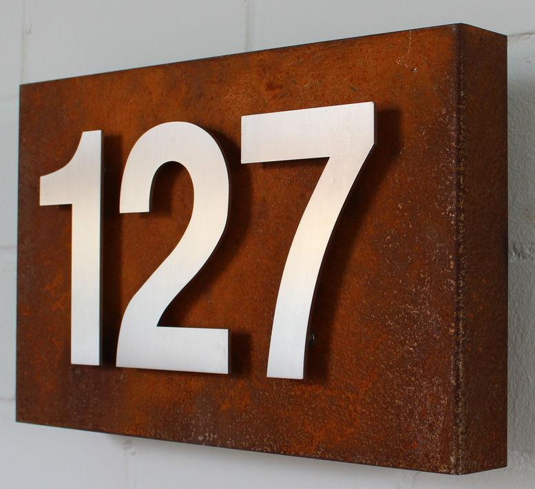 Hausnummer cortenstahl