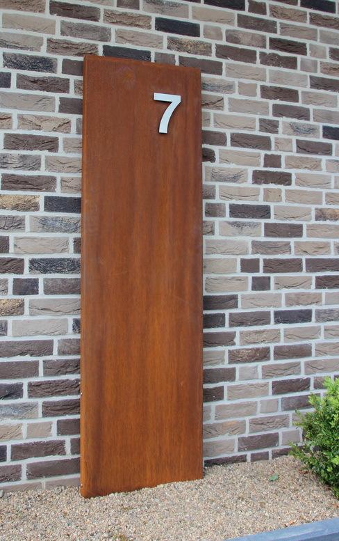 cortenstahl - corten stahl - edelrost rostsäule hausnummer stele, Garten und bauen